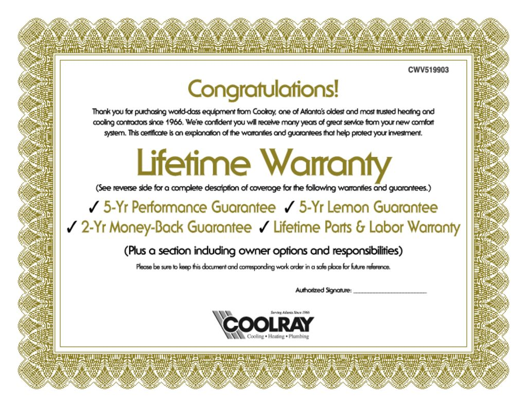 Coolray Lifetime Warranty Certificate Wrench Group