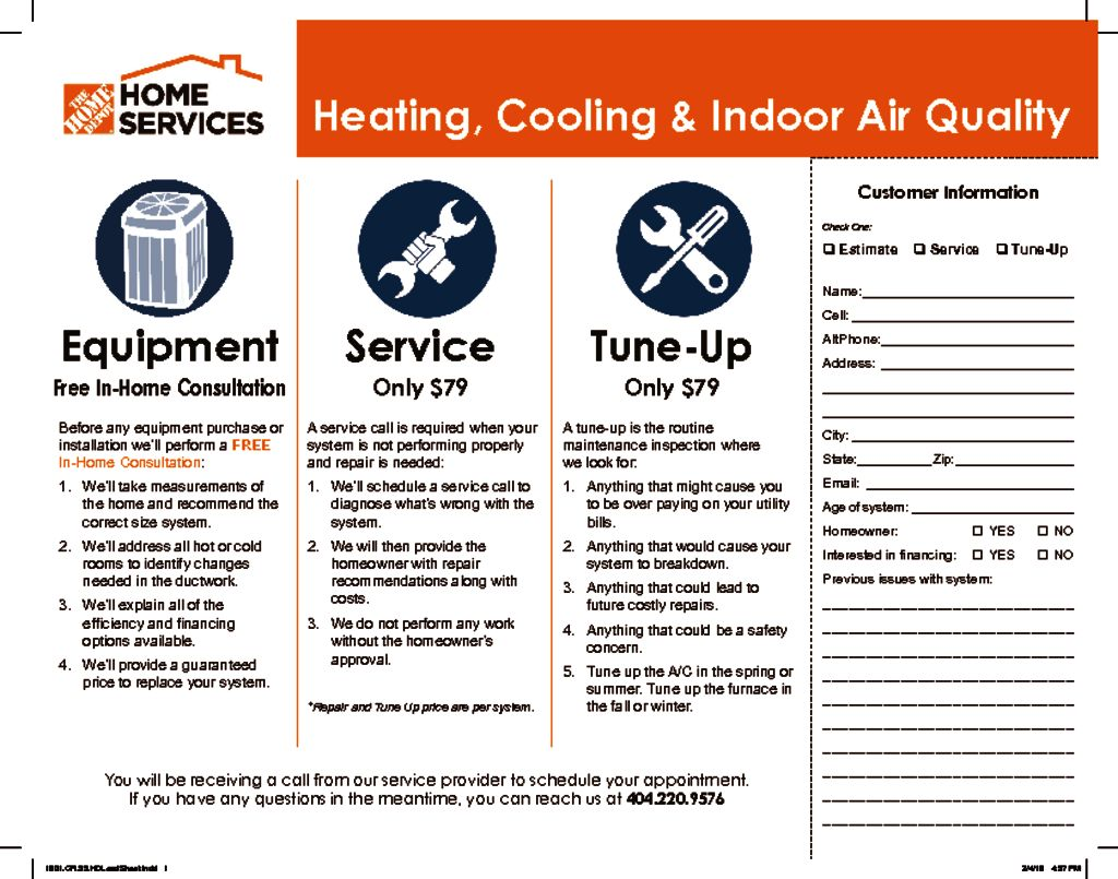 Home Depot Home Services Lead Sheet Wrench Group