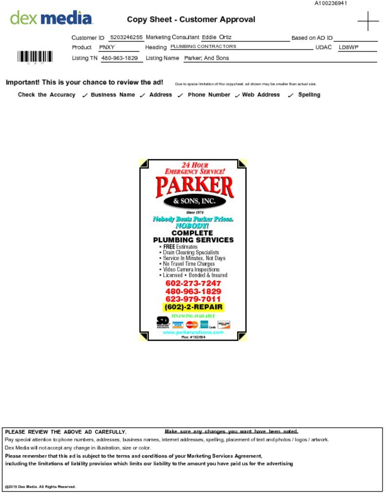 Parker and Sons Yellow Page Ad Copies 2016 - Wrench Group